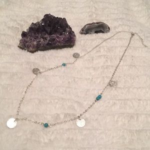Asymmetrical Turquoise Bead and Circle Necklace